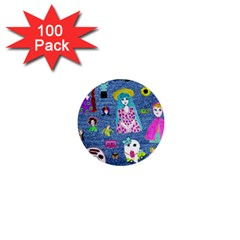 Blue Denim And Drawings 1  Mini Buttons (100 pack)