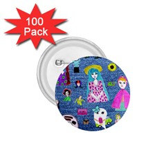 Blue Denim And Drawings 1.75  Buttons (100 pack)