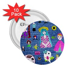 Blue Denim And Drawings 2.25  Buttons (10 pack)