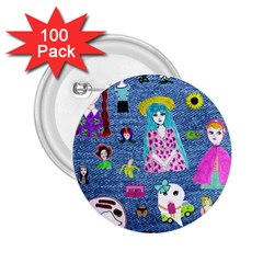 Blue Denim And Drawings 2.25  Buttons (100 pack)