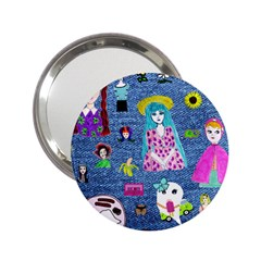 Blue Denim And Drawings 2.25  Handbag Mirrors