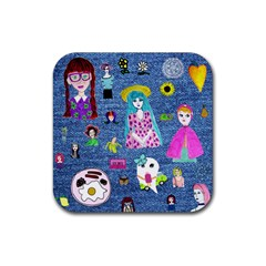 Blue Denim And Drawings Rubber Coaster (Square)