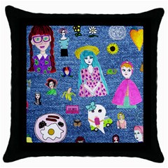 Blue Denim And Drawings Throw Pillow Case (Black)