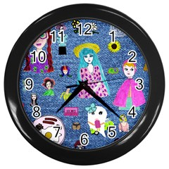 Blue Denim And Drawings Wall Clock (Black)