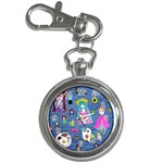 Blue Denim And Drawings Key Chain Watches Front