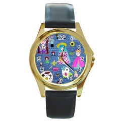 Blue Denim And Drawings Round Gold Metal Watch