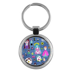 Blue Denim And Drawings Key Chain (Round)