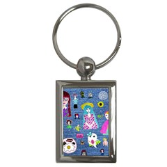 Blue Denim And Drawings Key Chain (Rectangle)