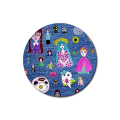 Blue Denim And Drawings Rubber Round Coaster (4 pack)