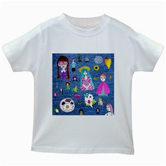 Blue Denim And Drawings Kids White T-Shirts