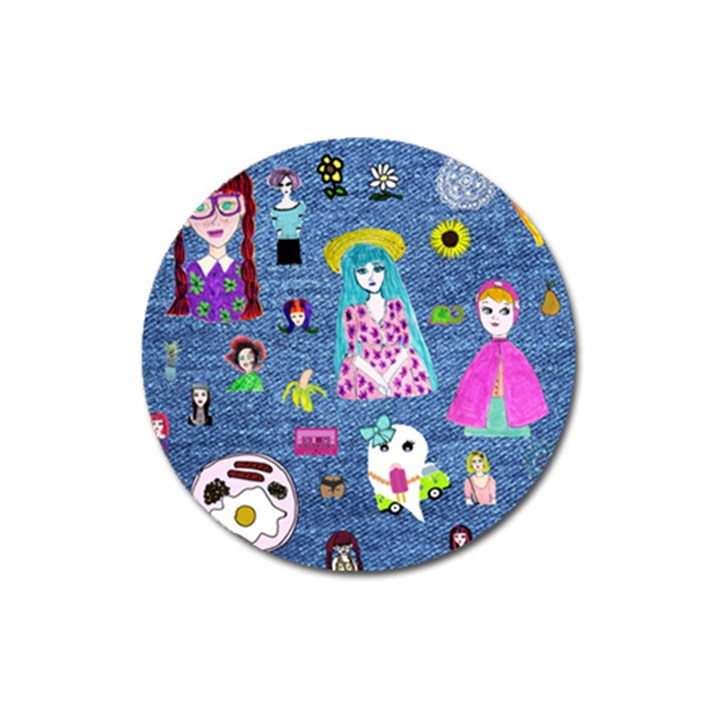 Blue Denim And Drawings Magnet 3  (Round)