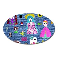 Blue Denim And Drawings Oval Magnet
