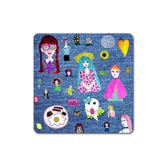Blue Denim And Drawings Square Magnet