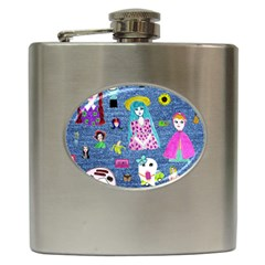 Blue Denim And Drawings Hip Flask (6 oz)