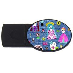 Blue Denim And Drawings USB Flash Drive Oval (2 GB)