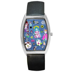 Blue Denim And Drawings Barrel Style Metal Watch