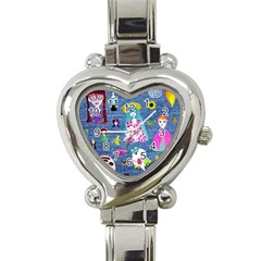 Blue Denim And Drawings Heart Italian Charm Watch