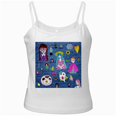 Blue Denim And Drawings Ladies Camisoles