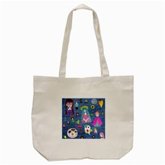 Blue Denim And Drawings Tote Bag (Cream)