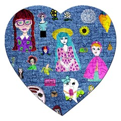 Blue Denim And Drawings Jigsaw Puzzle (Heart)
