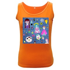 Blue Denim And Drawings Women s Dark Tank Top
