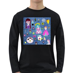 Blue Denim And Drawings Long Sleeve Dark T-Shirt