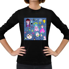 Blue Denim And Drawings Women s Long Sleeve Dark T-Shirt
