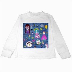 Blue Denim And Drawings Kids Long Sleeve T-Shirts