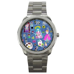 Blue Denim And Drawings Sport Metal Watch
