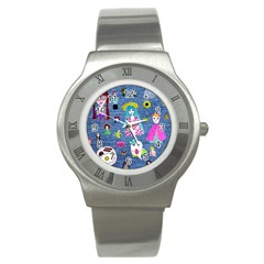 Blue Denim And Drawings Stainless Steel Watch