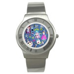 Blue Denim And Drawings Stainless Steel Watch Front