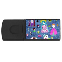 Blue Denim And Drawings Rectangular USB Flash Drive