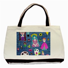 Blue Denim And Drawings Basic Tote Bag