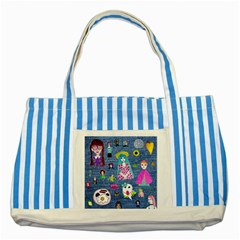 Blue Denim And Drawings Striped Blue Tote Bag
