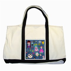 Blue Denim And Drawings Two Tone Tote Bag