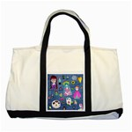Blue Denim And Drawings Two Tone Tote Bag Front