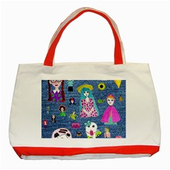 Blue Denim And Drawings Classic Tote Bag (Red)