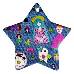 Blue Denim And Drawings Star Ornament (Two Sides)