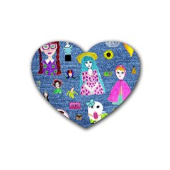 Blue Denim And Drawings Rubber Coaster (Heart)