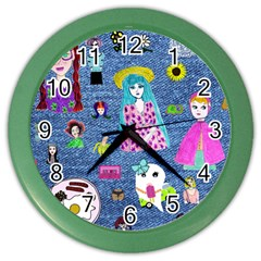 Blue Denim And Drawings Color Wall Clock