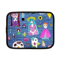 Blue Denim And Drawings Netbook Case (Small)