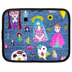 Blue Denim And Drawings Netbook Case (Large)
