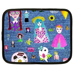 Blue Denim And Drawings Netbook Case (XXL)