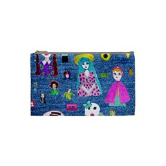 Blue Denim And Drawings Cosmetic Bag (Small)
