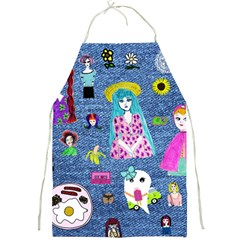 Blue Denim And Drawings Full Print Apron