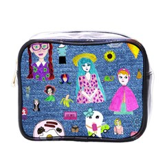 Blue Denim And Drawings Mini Toiletries Bag (One Side)