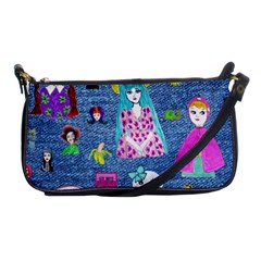 Blue Denim And Drawings Shoulder Clutch Bag