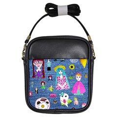 Blue Denim And Drawings Girls Sling Bag