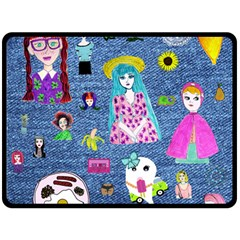 Blue Denim And Drawings Fleece Blanket (Large)