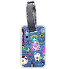 Blue Denim And Drawings Luggage Tag (one side)